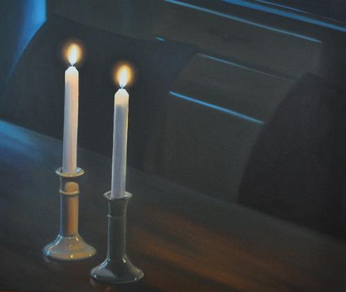 Svantje Miras, Zwei Kerzen, Stilleben, Situationen, Realismus