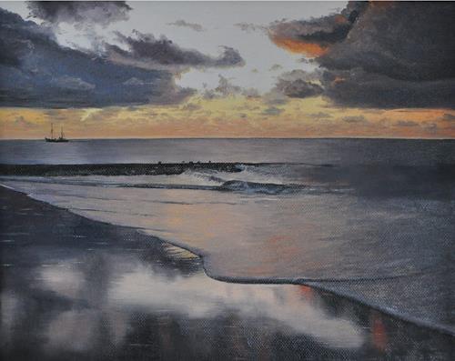 Svantje Miras, Wangerooge, Landschaft: See/Meer, Landschaft: Strand, Realismus, Expressionismus
