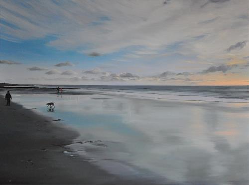 Svantje Miras, Sylt, im April mit Hund, Landschaft: Strand, Landschaft: Frühling, Expressionismus