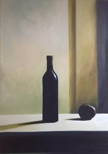 Svantje Miras, Richters Flasche mit Apfel I, Stilleben, Situationen