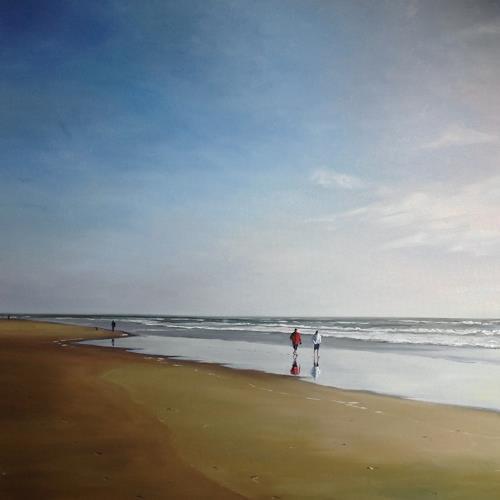 Svantje Miras, Paar am Strand, Sylt, II, Landschaft: See/Meer, Menschen: Paare