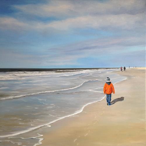 Svantje Miras, Strandspaziergang, Landschaft: See/Meer, Landschaft: Strand, Expressionismus