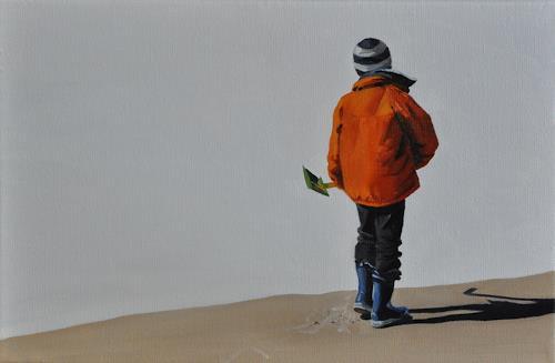 Svantje Miras, Miguel am Strand, Menschen: Kinder, Diverse Landschaften, Realismus, Expressionismus