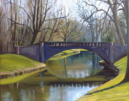 Svantje Miras, Brücke im Bürgerpark, Landschaft: Frühling, Diverse Landschaften