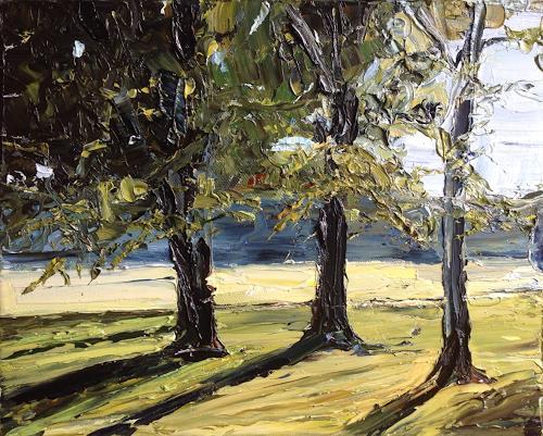 Svantje Miras, Bäume im Bürgerpark, Landschaft: Frühling, Landschaft: Sommer, Expressionismus