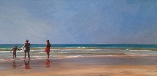 Svantje Miras, Drei Grazien am Strand, Landschaft: Sommer, Landschaft: Strand, Expressionismus