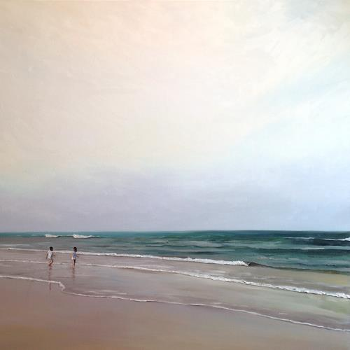 Svantje Miras, Schwestern morgens am Strand, Landschaft: Sommer, Landschaft: Strand, Expressionismus