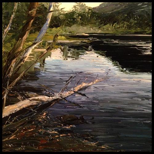 Svantje Miras, See im Abendlicht, Landschaft: See/Meer, Landschaft: Sommer, Abstrakte Kunst, Expressionismus