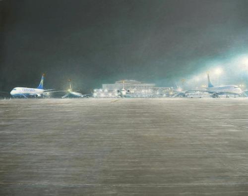 Celso Martinez Naves, Aeropuerto (Cryanair), Landschaft: Ebene, Verkehr: Flugzeug, Realismus, Expressionismus