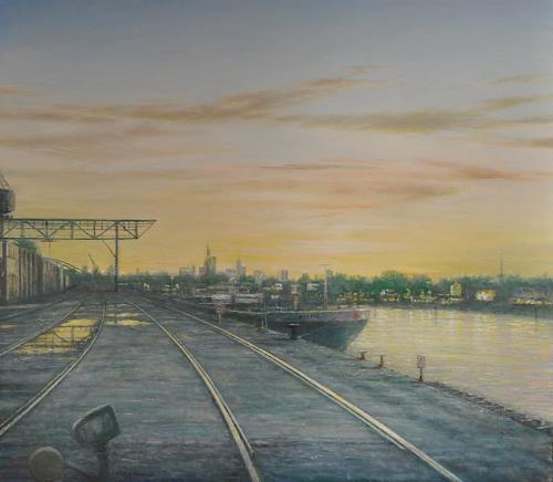 Celso Martinez Naves, Offenbach, Landschaft: Sommer, Verkehr: Schiff, Realismus