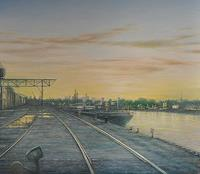 Celso-Martinez-Naves-Landschaft-Sommer-Verkehr-Schiff-Neuzeit-Realismus