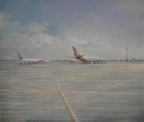 Celso Martinez Naves, Aeropuerto (Qantas), Landschaft: Sommer, Verkehr: Flugzeug, Realismus