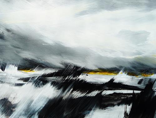 Petra Wendelken, Mit dem Wind...., Landschaft, Land-Art, Abstrakter Expressionismus