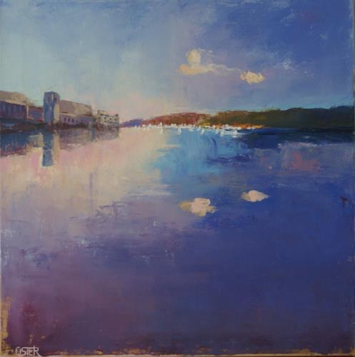 Christine Oster, Träume am See, Landschaft: See/Meer, Romantik: Sonnenuntergang, Realismus