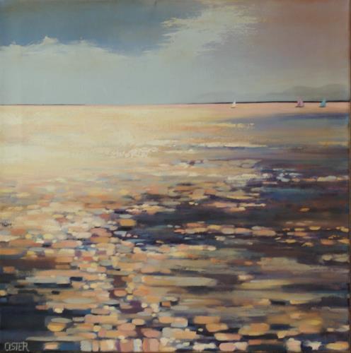 Christine Oster, Abendlicht, Landschaft: See/Meer, Natur, expressiver Realismus