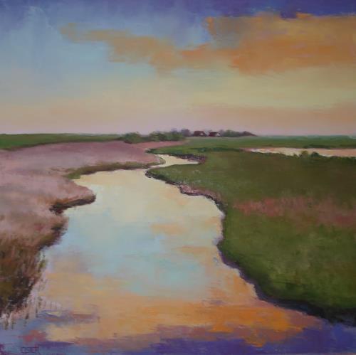 Christine Oster, Abendstimmung, Landschaft: See/Meer, Natur: Wasser, Realismus