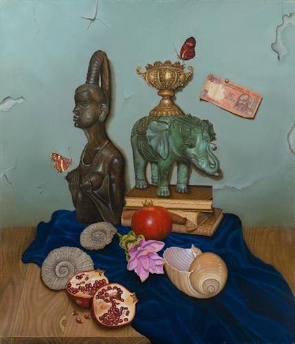 Irene Haas, Souvenirs aus fernen Ländern, Stilleben, Stilleben, Realismus