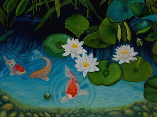 Irene Haas, Neugieriger Koi, Landschaft, Pflanzen, Realismus
