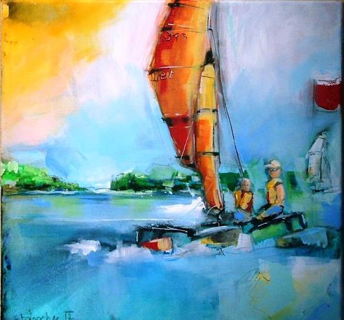 Michaela Steinacher, Attersee, Landschaft: See/Meer, Natur: Wasser, Gegenwartskunst, Expressionismus
