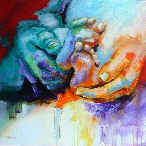 Michaela Steinacher, Hände, Menschen: Gruppe, Diverse Erotik, Gegenwartskunst, Expressionismus