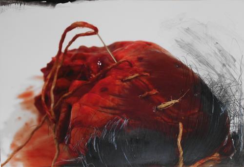 Michaela Steinacher, gebrochenes Herz, Symbol, Skurril, Moderne, Abstrakter Expressionismus