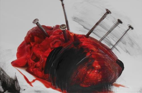 Michaela Steinacher, Herzschmerz, Stilleben, Essen, Symbolismus, Abstrakter Expressionismus