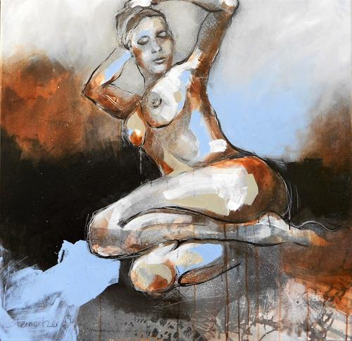Michaela Steinacher, in Pose, Menschen: Frau, Akt/Erotik: Akt Frau, expressiver Realismus, Abstrakter Expressionismus