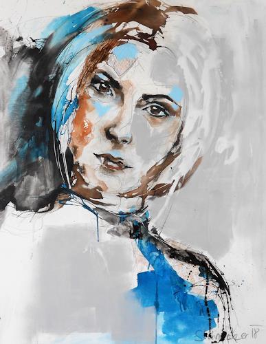 Michaela Steinacher, brown eyed girl, Menschen: Frau, Menschen: Gesichter, Gegenwartskunst, Expressionismus