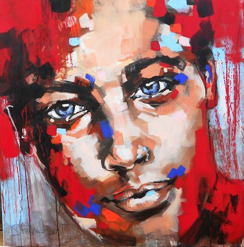 Michaela Steinacher, red, Menschen, Menschen: Gesichter, Abstrakte Kunst