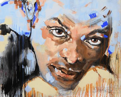 Michaela Steinacher, blue, Menschen, Menschen: Gesichter, Abstrakte Kunst