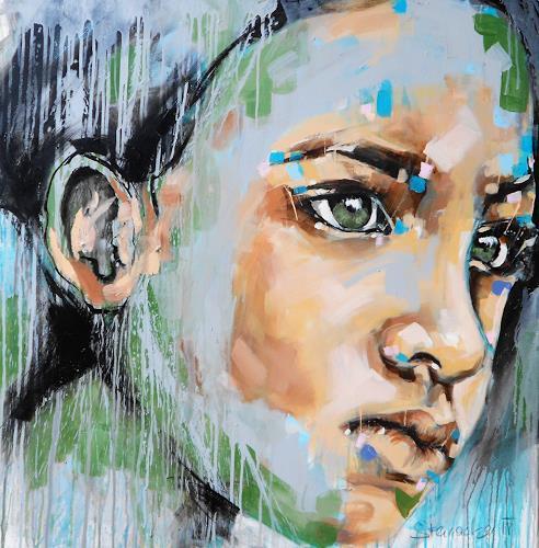 Michaela Steinacher, nicht unterkriegen lassen, Menschen: Gesichter, Menschen, Abstrakte Kunst, Expressionismus