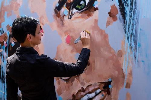 Michaela Steinacher, einfach glücklich, Menschen: Gesichter, Menschen, Abstrakte Kunst, Expressionismus