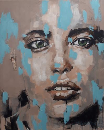 Michaela Steinacher, ausdrucksvoll, Menschen: Gesichter, Menschen, expressiver Realismus, Expressionismus