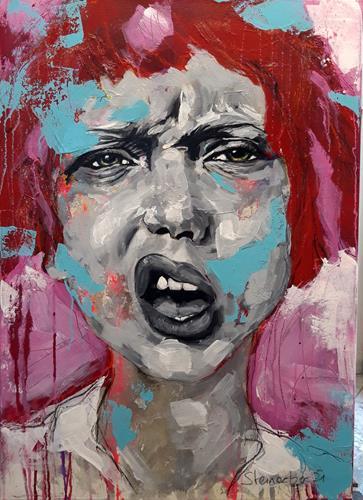 Michaela Steinacher, Fuck Corona - echt jetzt?, Menschen, Menschen: Gesichter, expressiver Realismus, Abstrakter Expressionismus