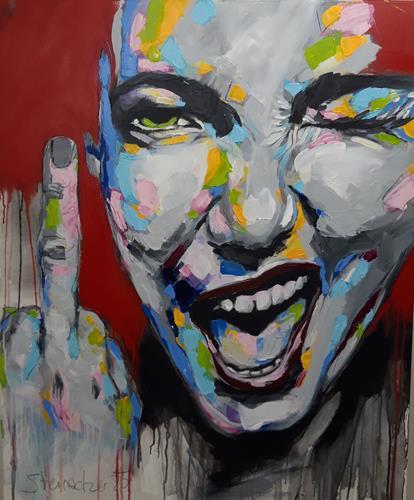Michaela Steinacher, Fuck Corona, Menschen: Gesichter, Menschen: Porträt, expressiver Realismus