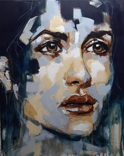 Michaela Steinacher, verstört, Menschen, Menschen: Gesichter, Gegenwartskunst, Expressionismus