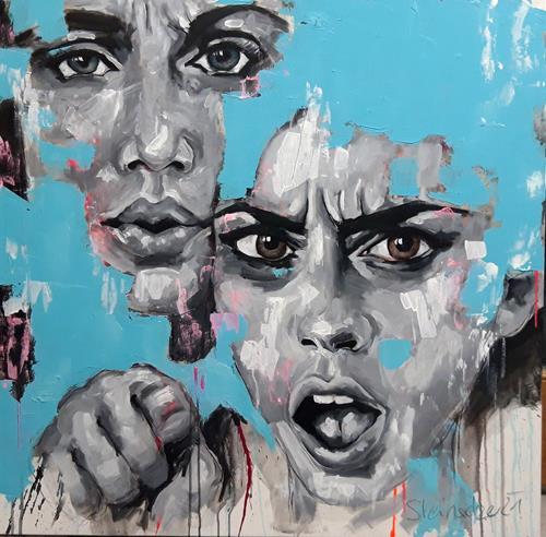 Michaela Steinacher, Fuck Corona - Oh no!, Menschen, Menschen: Gesichter, Gegenwartskunst, Abstrakter Expressionismus
