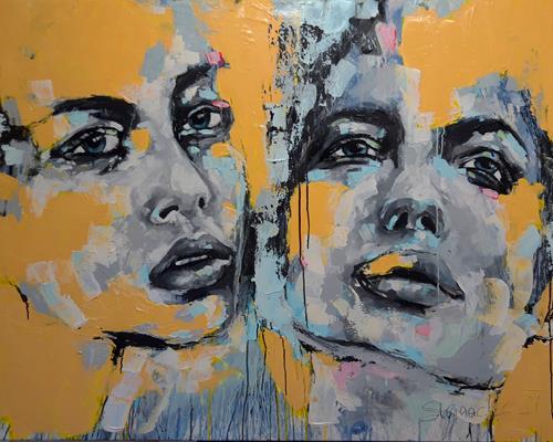 Michaela Steinacher, steh auf, wenn du am Boden bist, Menschen, Menschen: Gesichter, Gegenwartskunst