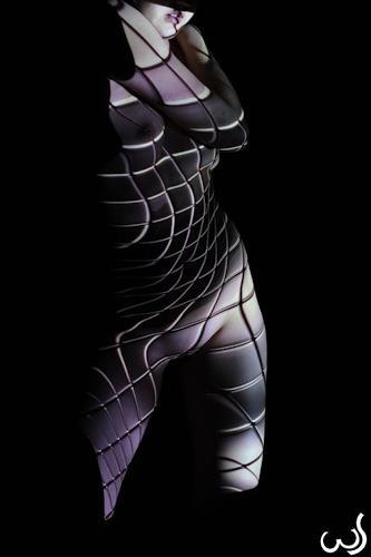 Wolfgang Schroffner, Curves & Squares, Akt/Erotik: Akt Frau, Menschen: Frau, Konzeptkunst, Abstrakter Expressionismus