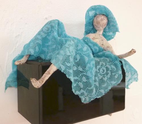 Vic Zumsteg, blue Lady liegend (Vic Zumsteg), Abstraktes, Dekoratives