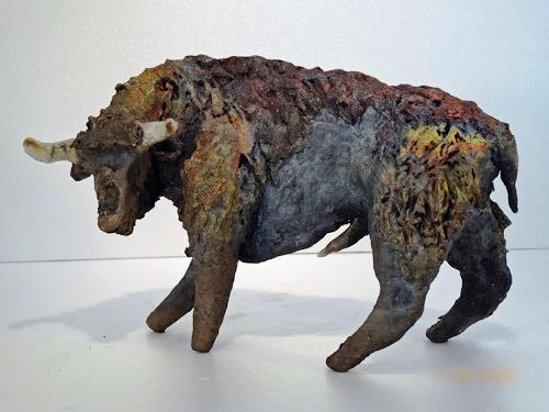 Annamarie + Vic Zumsteg, Stier, Bull  (Vic Zumsteg), Abstraktes, Tiere: Land, Art Déco, Abstrakter Expressionismus