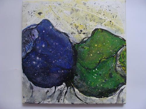 Ursula Bieri, blau grüne Blumen, Abstraktes, Pflanzen: Blumen, Abstrakte Kunst