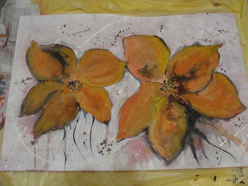 Ursula Bieri, orange Blumen, Abstraktes, Pflanzen: Blumen, Abstrakte Kunst