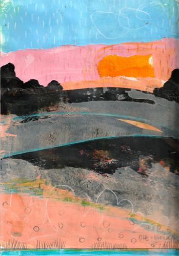 Christa Otte-Kreisel, Am Morgen, Landschaft: Frühling, Gegenwartskunst, Expressionismus
