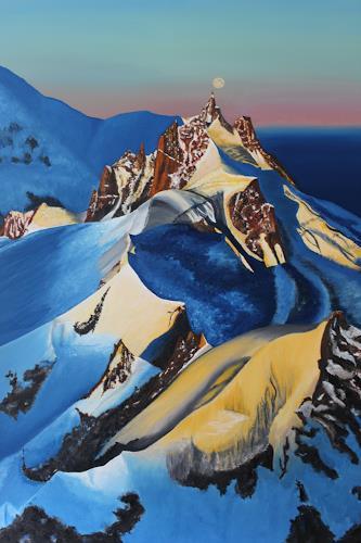 Yvonne Kamer, Sonnenaufgang an der Aiguille du Midi, Natur, Romantik: Sonnenaufgang, Fotorealismus, Expressionismus