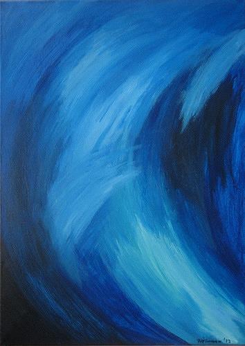 Florian Freeman, Ruhige Dynamik in Blau, Abstraktes, Natur: Wasser, Abstrakte Kunst