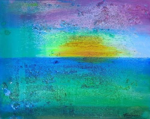 Florian Freeman, Mitten im Meer, Landschaft: See/Meer, Natur: Wasser, Abstrakter Expressionismus