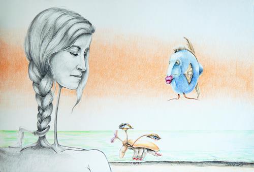 arthoss, Die Handkrappe erzählt Thetys von ihrem Leid. Das Salzwasser schade ihren Fingernägel. Der blaue Luk, Mythologie, Fantasie, Surrealismus