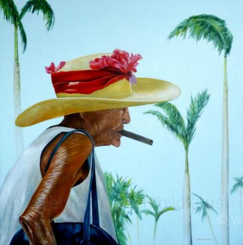 Valentin Reimann, Cuban beauty walks in a palm grove and smokes a good cigar., Menschen: Frau, Pflanzen: Bäume, Realismus, Expressionismus