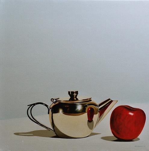 Valentin Reimann, Teekanne und Apfel, Stilleben, Stilleben, Realismus, Expressionismus
